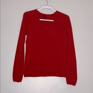 Charter Club Red Cashmere V Neck Sweater pullover